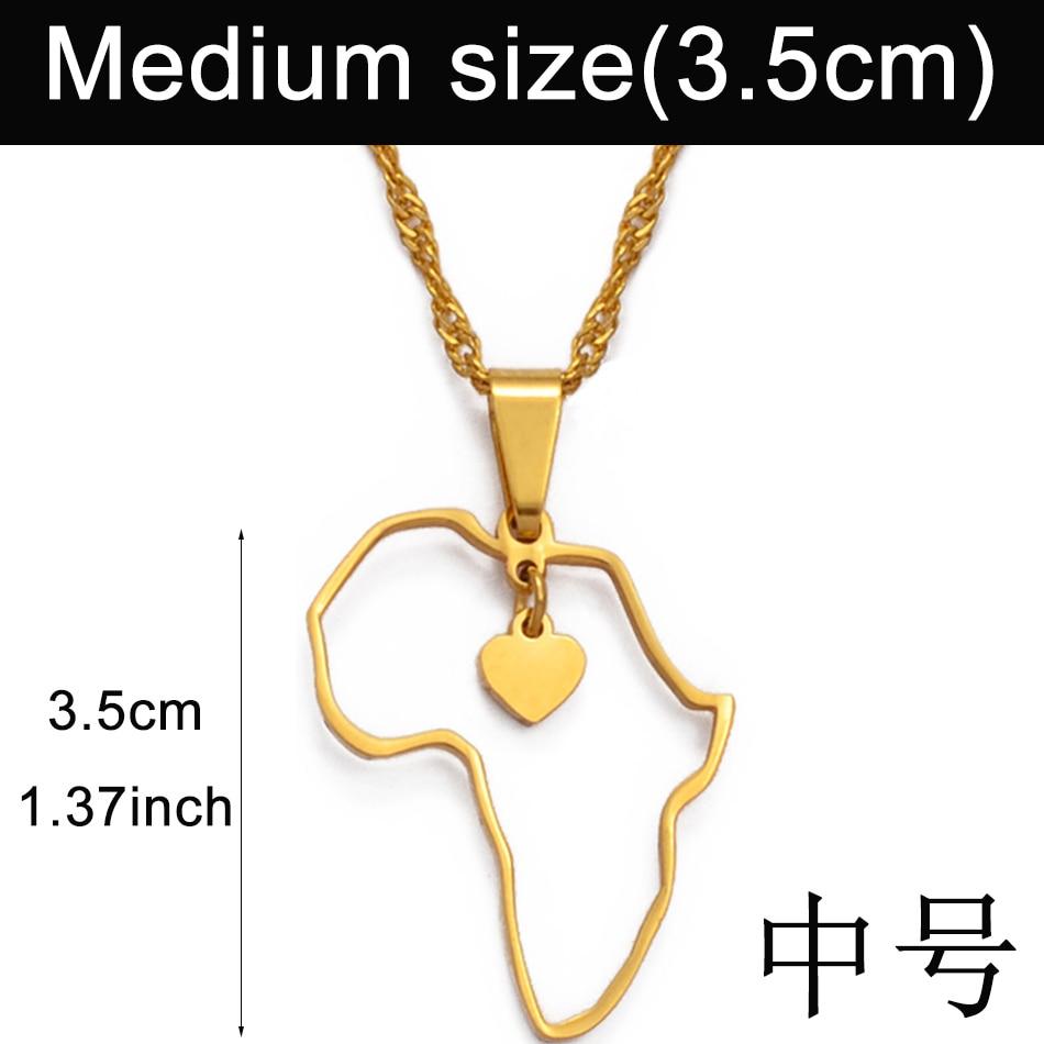 Anniyo(два размера) золотой цвет кулон Карта Африки ожерелья для женщин девочек сердце Африканский карты ювелирные изделия талисманы подарки#010421 - Окраска металла: 3.5cm  pendant