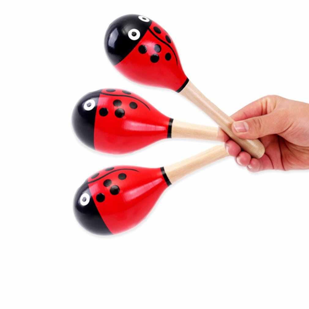 11cm colorido pelota de arena de madera juguete de sonido bebé niño educativo instrumento Musical sonajero agitador juguetes de fiesta para regalo de niños