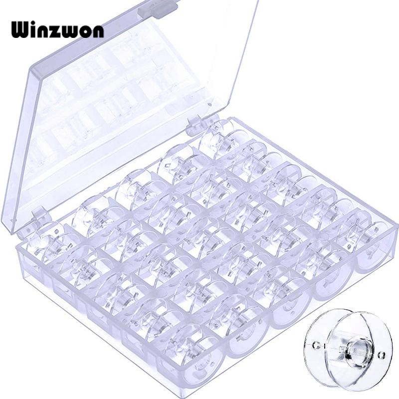 25Pcs Clear Bobbin Sewing Machine Bobbins Spools With Storage Box For Brother Singer Janome Kenmore Sewing Machine Accessories