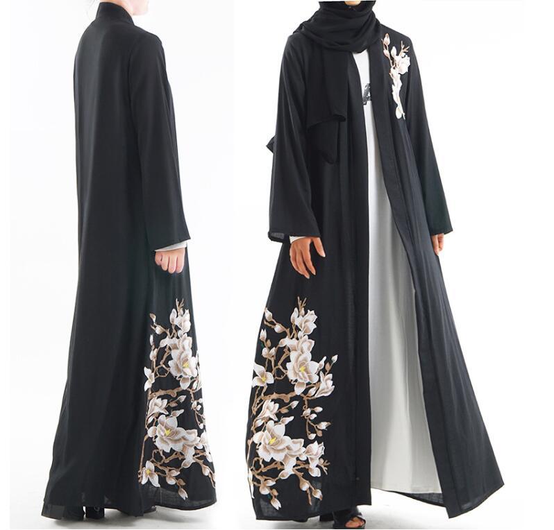 Islam Kimono Dress Muslim Terbaru Gamis Abaya Bordir Pakaian Turki Abaya Hitam Cardigan Panjang Hijab Dubai Polos Gaun Kj Pakaian Islamic Aliexpress