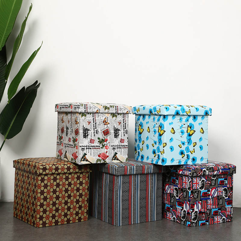 Multi-functional Storage Chair Folding Box Storage Box Customizable Oxford Cloth Waterproof Creative Square Storage Stool