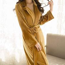 Women's long bathrobe velvet warm robe with long fur shawl in winter