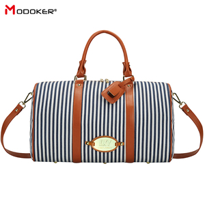 Image 1 - Modoker Large Black White Striped Women Travel Bag Organizer Casual Outdoor Teenager Luggage Bag Duffel Bag with Zipper Package