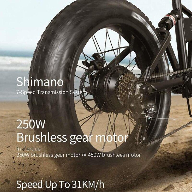 FIIDO M1 składany elektryczny rower górski podwójny hamulec tarczowy 250W silnik 7 prędkości przerzutka 12.5Ah bateria litowa trzy tryby jazdy