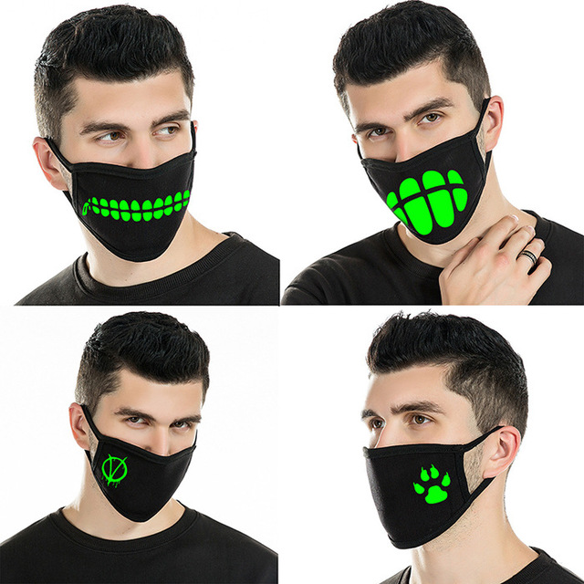 Reusable Luminous Funny Smile Expression Cotton Anti Dust Mouth Face Mask For Black Kpop Unisex Face Mouth Muffle Mask Fashion 3