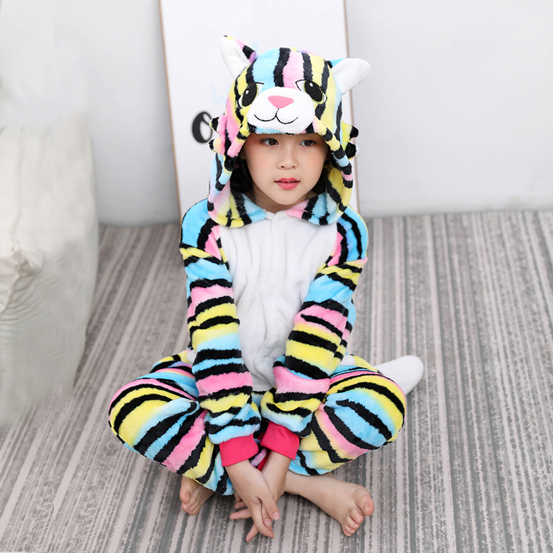 Kigurumi Unicorn Pajamas Animal Onesie For Children Girls Boys Sleepwear Kids Cartoon Licorne Stitch Pyjama Suit Winter Overalls