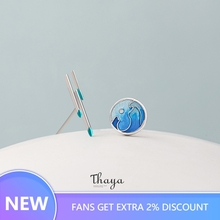 Thaya Blue Raindrop Earrings 925 Silver Asymmetrical Necklace for Women Original Design Jewelry