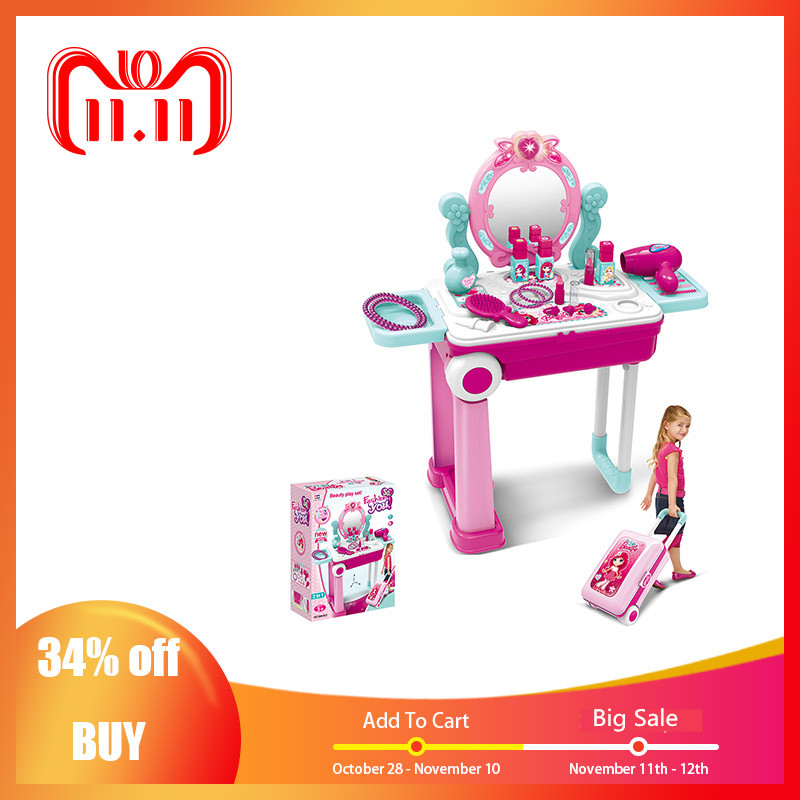 Kids Beauty Makeup Tool Sets Pretend Play Workbench Playset Educational Toy With Luggage Case Girls Toy Christmas Gifts