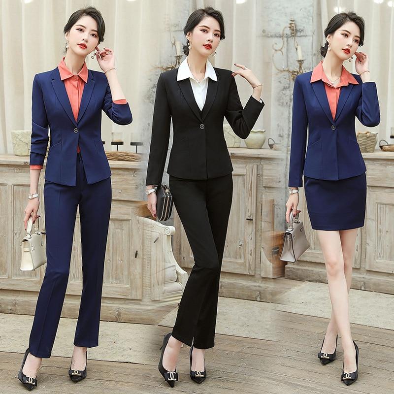 Professional women's pants suit 2020 new autumn and winter ladies slim long-sleeved jacket Slim Blazer Fashion office skirt