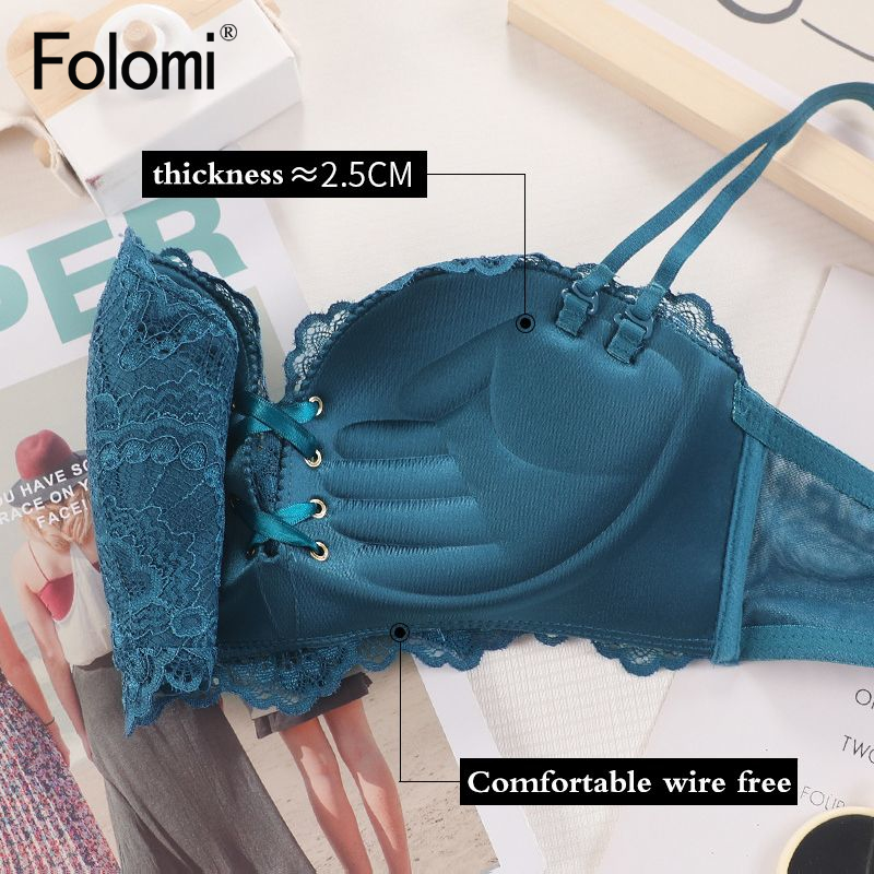 Lace Push Up Women Bra Padded Wire Free Lingerie Add Two Cup Brassiere 4