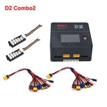 ISDT D2 combiné avec deux câbles de charge et deux JST-XH carte d'équilibre 200W double chargeur pour Lipo Lion LiHV LiFe NiMh batterie