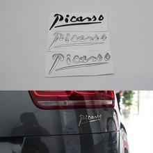 Эмблема Пикассо, автомобильная наклейка с логотипом, серебристо-черная, серая 3D буква, автомобильный значок, значок для Citroen C3 C4 Xsara