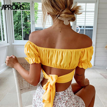 Aproms Sexy Backless Bow Tie Cropped Blouse Women Summer Ruffle Off Shoulder Shirt Streetwear Yellow Top for Women Clothing 2020 aproms sweet ruffle flare sleeve yellow blouse elegant off shoulder streetwear chiffon shirt women fashion crop top feamle tees