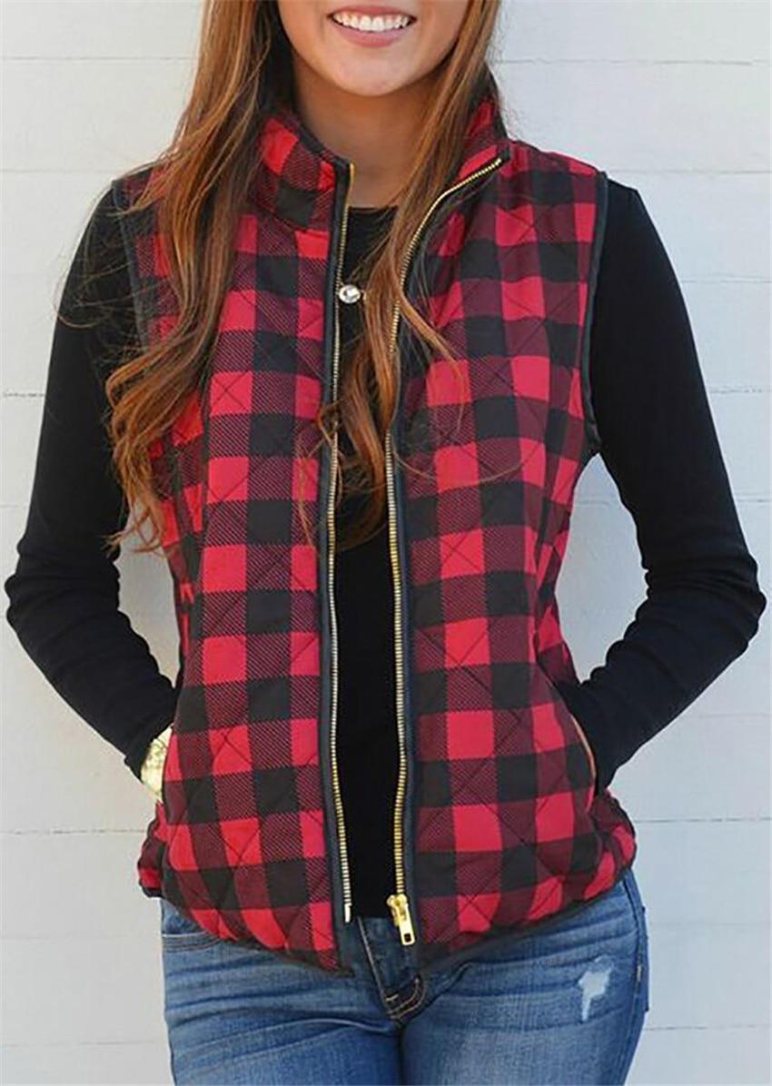 Zipper Plaid Vest Women Sleeveless Pocket Jacket 2020 New Autumn Winter Women Vest Casual Female