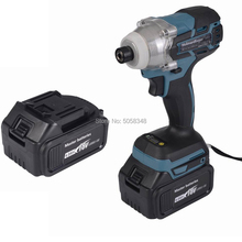 Electric Rechargeable 6.35mm 1/4 inch cordless brushless impact driver drill with two 18V 4.0Ah Lithium Battery