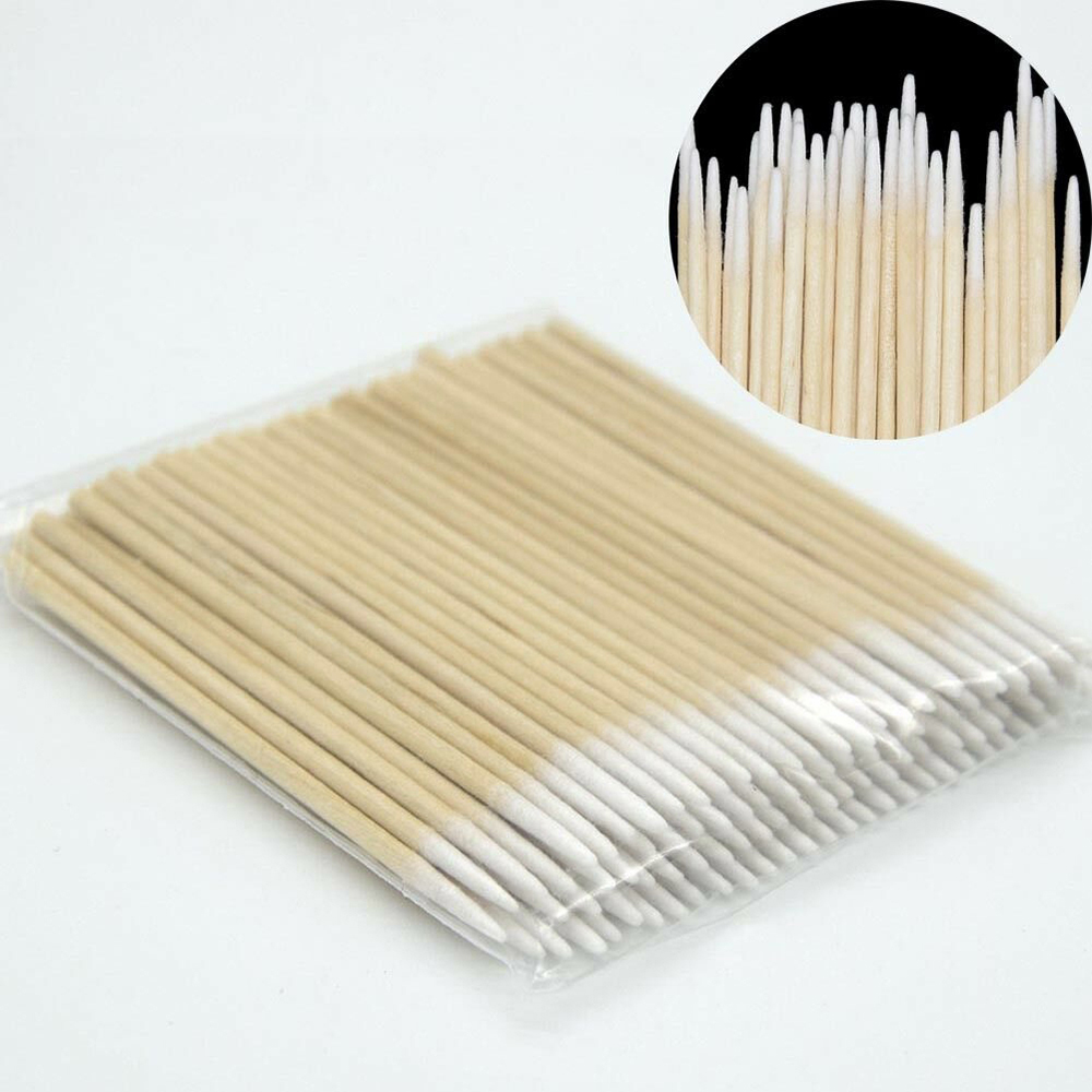 1000pcs Wood Cotton Swab Eyelash Extension Tools Medical Ear Care Wood Sticks Cosmetic Cotton Swab Tattoo Permanent Supplies
