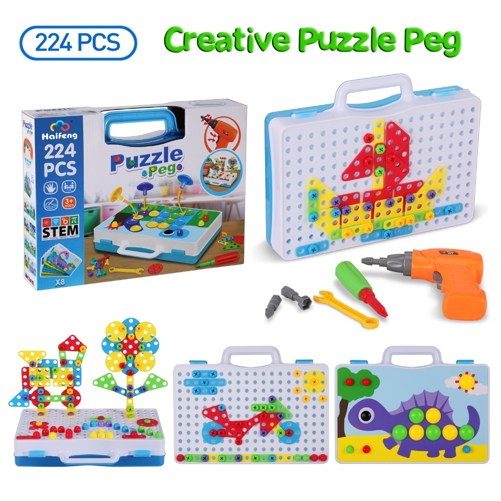 Mosaic Puzzle Toy & Mushroom Nail Kit Creative Design Drill Screw Puzzle Jigsaw Pretend Play Toy Gift For Kids Educational Toys