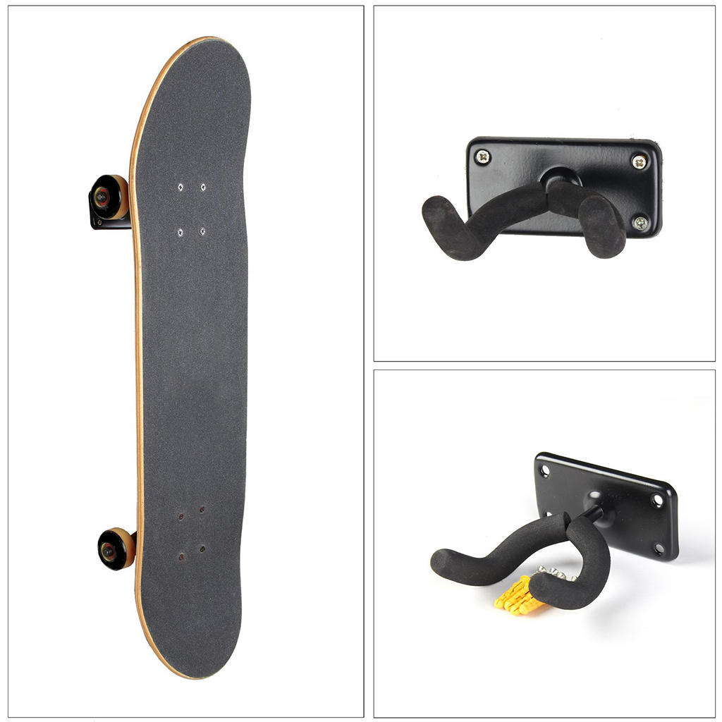 2 Set Longboard Wall Rack - Skateboard/Snowboard/Surfboard/Guitar Storage Display Holder Bracket & Hardware