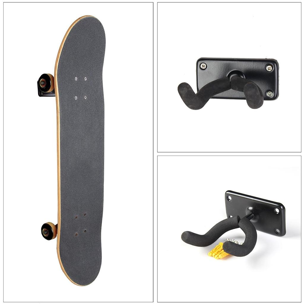 2 Set Longboard Wall Rack - Skateboard/Snowboard/Surfboard/Guitar Storage Display Holder Bracket & Hardware