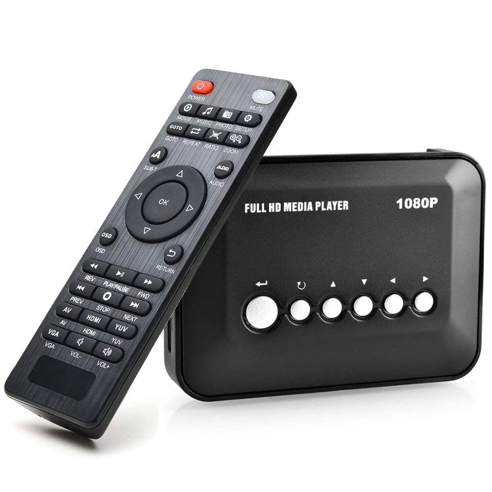 1080P FULL HD Media Player Multimedia TV Player with HDMI / YPbPr / AV Output, USB/SD Ports with Remote Control for MP3 AVI RMV