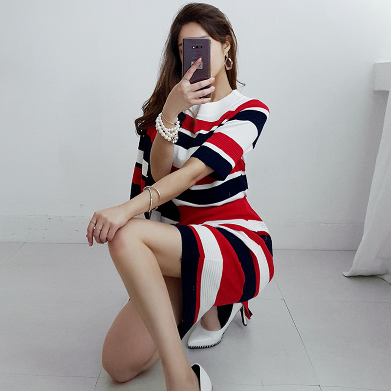 Autumn Women's Knitted Three-piece Sets Korean Fashion Striped Knit Cardigan Skirt Sets  Women's Knitted 3 Piece Set JP128