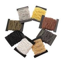 2m/lot 2.5/3.5/4.5mm rhodium/silver/ KC gold/dark black/bronze flat chain DIY necklace bracelet jewelry making supplies
