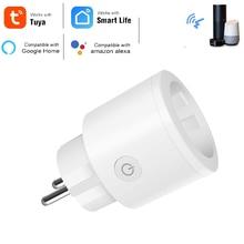 قابس واي فاي ذكي من الاتحاد الأوروبي صغير 16A مع منفذ مقبس مراقبة الطاقة يعمل مع Google Home Alexa IFTTT التحكم الصوتي