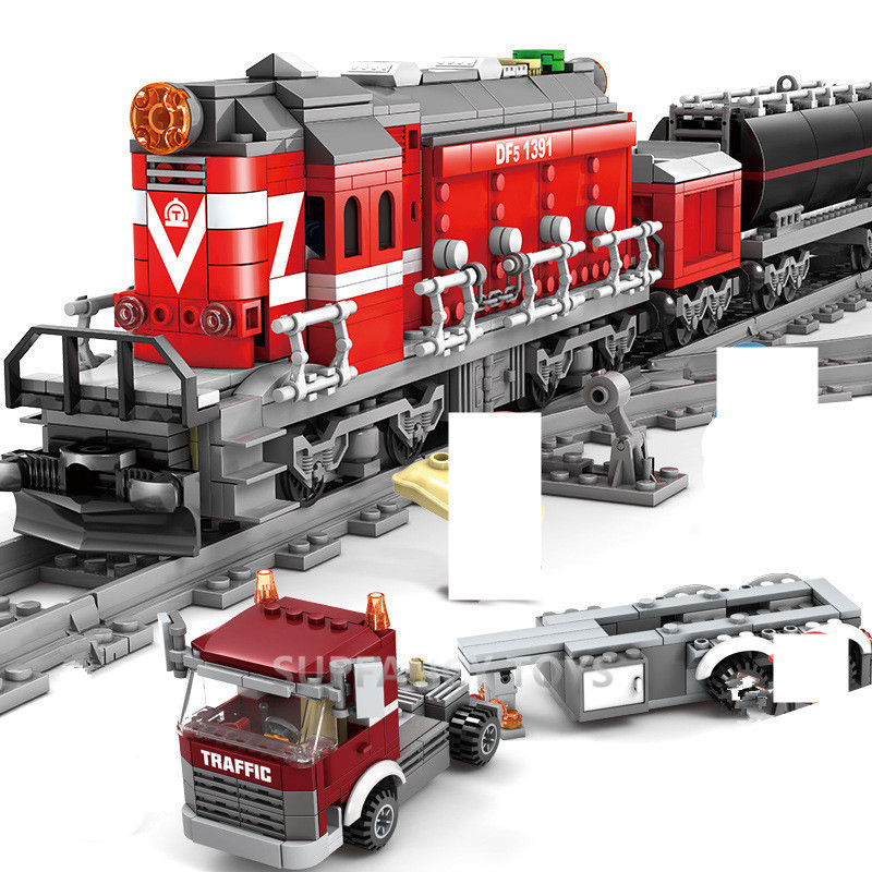 1080Pcs Technic Battery Operated DF5 Railway Train Brinquedos Building Blocks Conductor Driver Figures Flat Trailer Bricks Toys