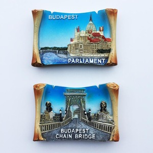 Europe Hungary Budapest Travel Souvenirs Fridge Magnets Resin Handmade Painted Magnetic Refrigerator Message Board Stickers(China)