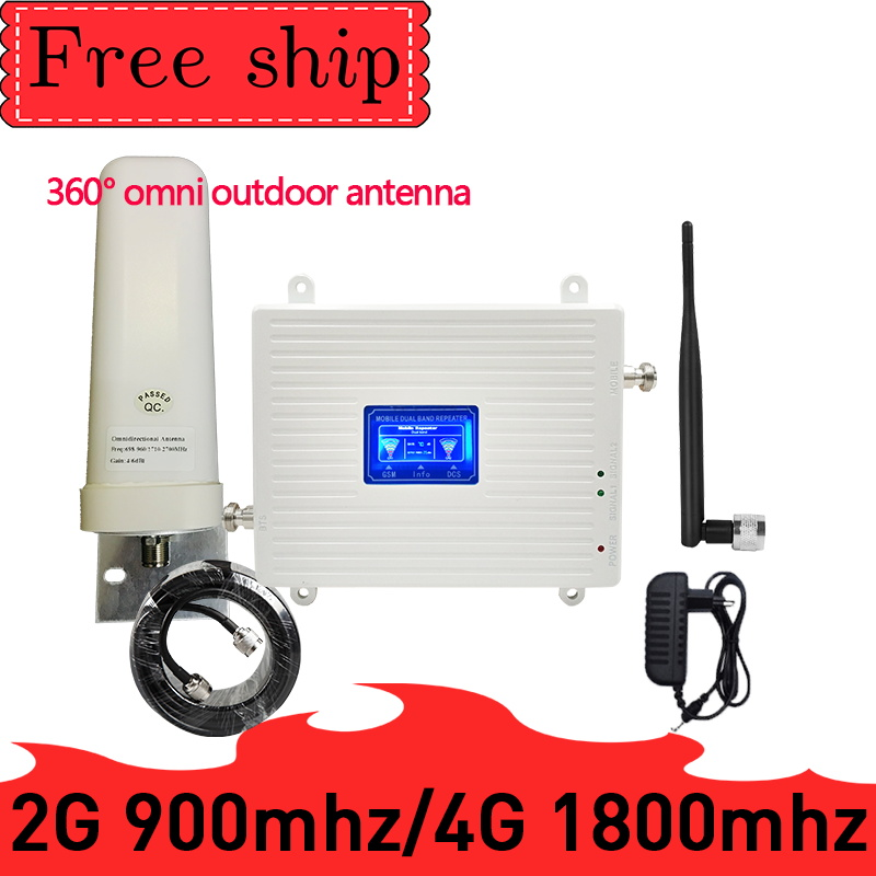 GSM 900 LTE 1800 2G 4G Dual Band Mobile Signal Repeater GSM 4G LTE Cellular Signal Booster 2G 4G Amplifier 360° Outdoor Antenna