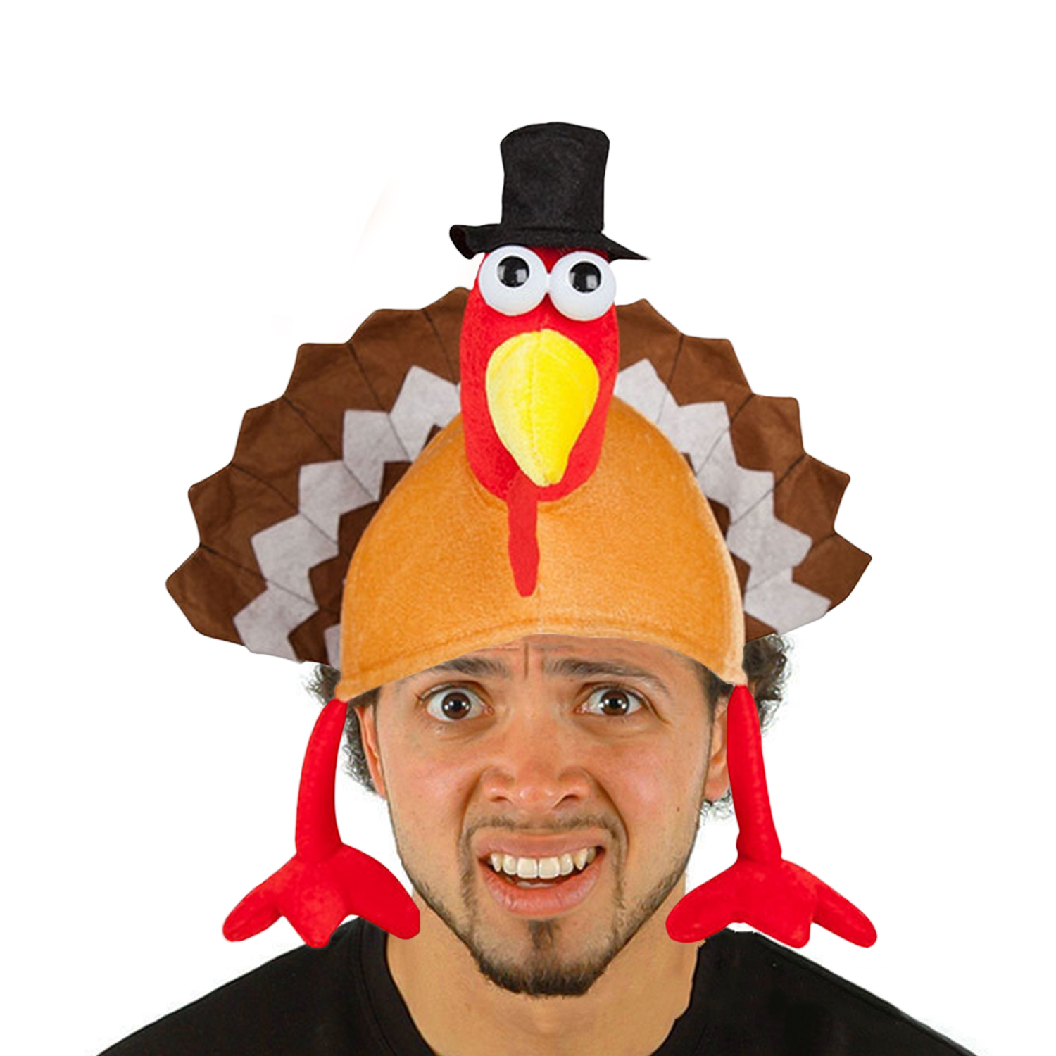 Funny Soft Plush Turkey Hat For Adults Men Women Thanksgiving Masquerade Festival Celebrations Party Costume Accessories