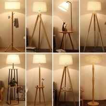 רצפת מנורות נורדי מודרני עץ מינימליסטי תאורת סלון חדר שינה עומד מנורת בד אהיל כפתור מתג