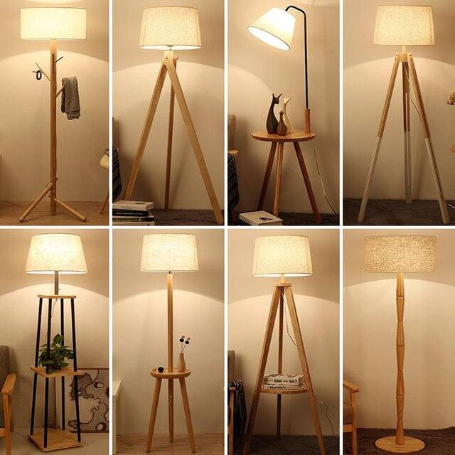 Đèn Sàn Bắc Âu Hiện Đại Gỗ Tối Giản Chiếu Sáng Phòng Khách Phòng Ngủ Đèn Đứng Chụp Đèn Vải Bố Nút Bấm