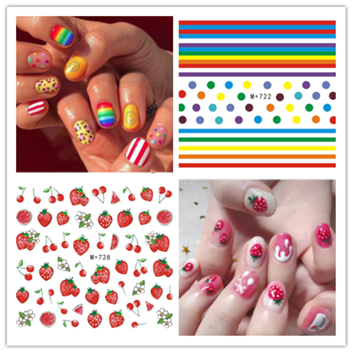 M + 722-756 Nail Sticker Paper Network Red-Weep Yafeng Cute Poached Egg Polka Dot Strawberry Nail Watermark Flower Stickers