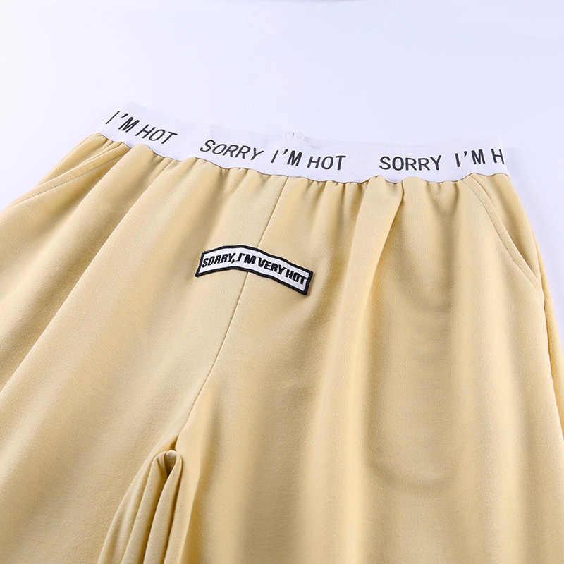 NCLAGEN mektup baskı Sweatpants Casual Patchwork Joggers kadınlar pantolon athleisure eşofman altı gevşek Harem kapriler kadın pantolon