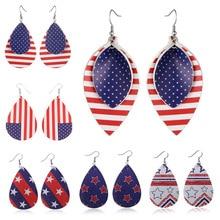 2019 Vintage PU American Flag Geometric Women Big Dangle Drop Earrings Pendientes Fashion Jewelry Accessories Wholesale-LYD-W4