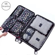 7 adet/takım bagaj seyahat çantası bavul giysi saklama çantası kozmetik ambalaj küp organizatör bagaj seyahat bagaj çantası aksesuarları