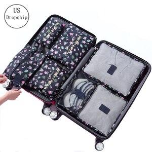 Image 1 - 7 pièces/ensemble bagages sac de voyage valise vêtements sac de rangement cosmétiques emballage cube organisateur bagages voyage bagages sac accessoires