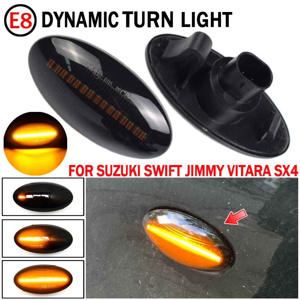 2 шт. Динамический светодиодный боковые габаритные указатели поворота желтый индикатор ретранслятор автомобильные огни для Suzuki Swift Jimmy Vitara ...