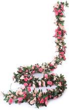 2 pçs 2.2m 45 cabeças falso rosa videira guirlanda flores artificiais plantas penduradas para casamento casa festa jardim artesanato arte decoração