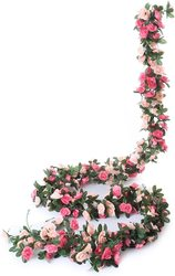 2pcs 2.2m 45heads Fake Rose Vine Garland Artificial Flowers Plants Hanging for Wedding Home House Party Garden Craft Art Decor