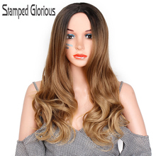 Stamped Glorious Long Hair Wave Wig Ombre Black Brown Wavy Synthetic Wi