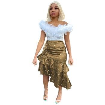 High Waist Women Trumpet Skirt PU Leather Asymmetrical Ruffle Bodycon Bead Skirt Office Elegant Pencil Skirt Streetwear Clothing ruched high waist maxi trumpet skirt