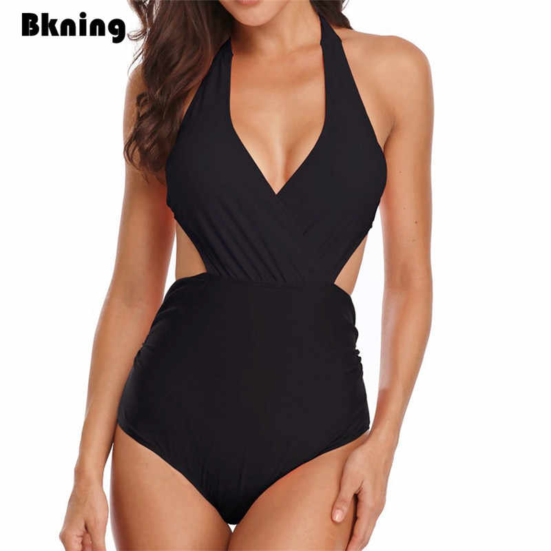Solid Black Swimsuit One-Piece Women 2019 High Waist Swimwear New Plus Size Women's Swimsuits Bangage Halter Pad Large 3XL 2XL
