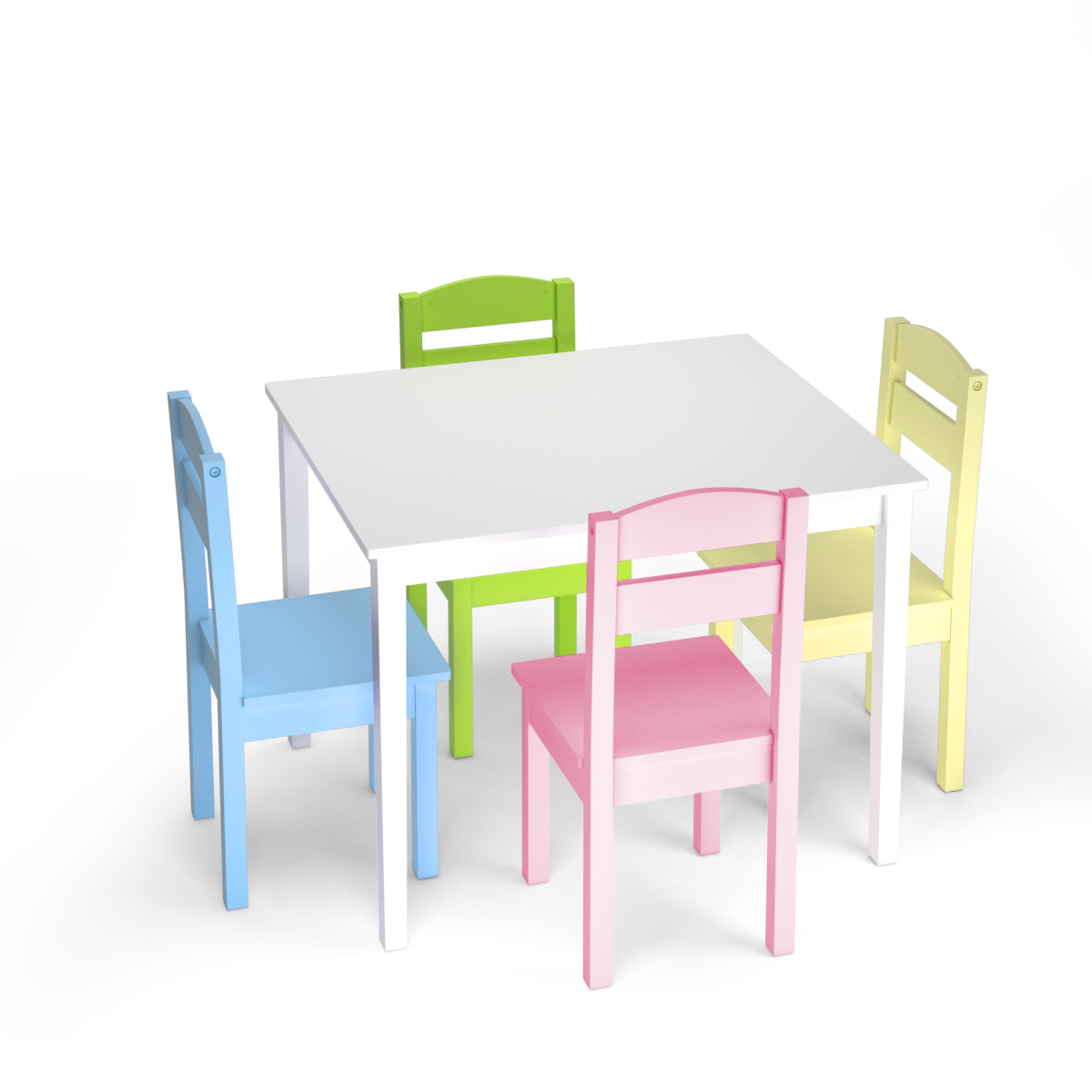 5 Piece Kids Play Table Chair Set Wood Activity Study Table W/ 4 Chairs Colorful