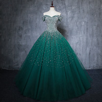 2019 Ball Gown Long Green Quinceanera Dresses 15 Sweet 16 Puffy Quinceanera Gown Prom Dresses for 15 Years