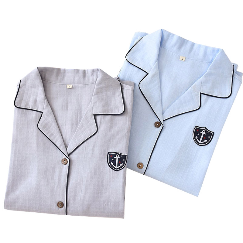 2020 Spring And Autumn New Men Pajamas Set Comfort Gauze Cotton Soft Breathable Sleepwear Set Simple Style Solid Color Homewear