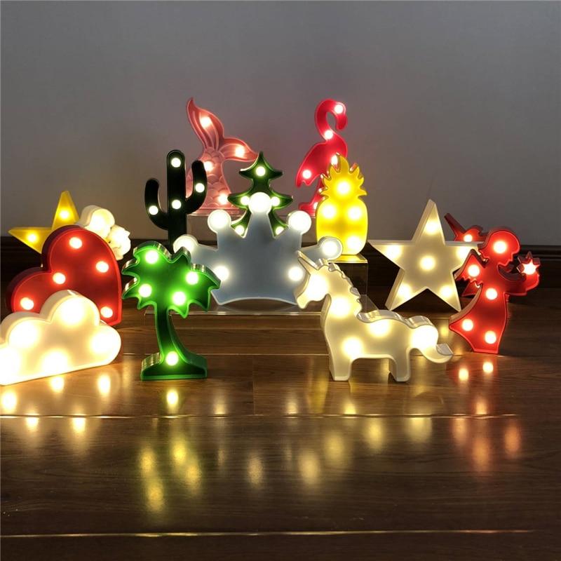 Cartoon Night Lights Unicorn/Flamingo/Cactus/Pineapple/Cloud/Star/Shell/Heart LED Table Lamp For Children's Bedroom Decoration
