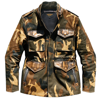 CDM65 Rock Can Roll US Size Army Super Heavy Genuine Cowhide & 22oz Canvas 55% Wool Lining Wax Water Proof Camo M65 Jacket