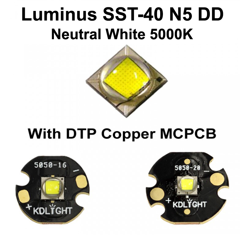 Luminus SST-40 N5 DD Neutral White 5000K LED Emitter with KDLITKER 16mm / 20mm DTP Copper MCPCB